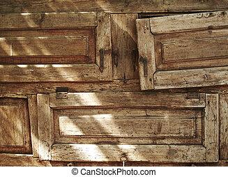 vecchio, textured, legno, forniture, cassetti