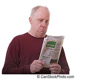 vecchio, tipo, lettura, sezione finanziaria
