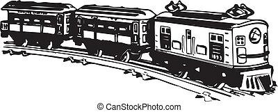 vecchio, train., vapore