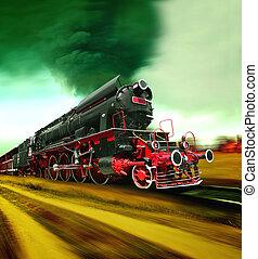 vecchio, treno vapore, motore