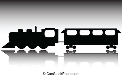 vecchio, treno, vettore, silhouette