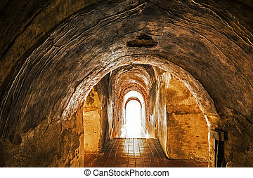 vecchio, tunnel, fine, luce