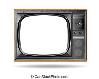 vecchio, tv, vendemmia, isolato, fondo, bianco