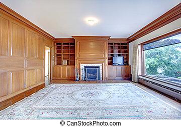 vecchio, ufficio, house., ameican, pareti, legno, sede lusso, caminetto