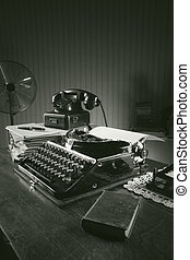 vecchio, ufficio, macchina scrivere
