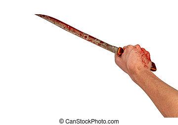 vecchio, umano, isolato, lungo, sanguinante, fondo, presa a terra, bianco, mano, coltello, cucina