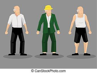 vecchio, uomini, carattere, illustrazione, vettore, cartone animato