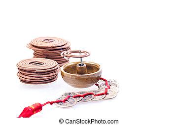 vecchio, urente, cinese, monete, su, incenso, colse