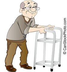 vecchio, usando, uno, camminatore, illustrazione