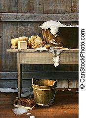 vecchio, vasca lavata, con, sapone, e, spazzoloni