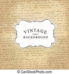 vecchio, vendemmia, handwritings, illustrazione, carta, fondo., vettore, invecchiato