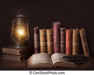 vecchio, vendemmia, libri