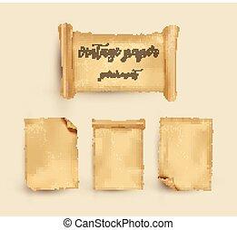 vecchio, vendemmia, paper., illustrazione, vettore, parchment.