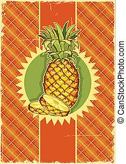 vecchio, vendemmia, struttura, etichetta, carta, frutta, fondo, ananas