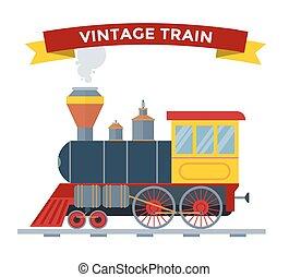 vecchio, vendemmia, treno, collezione, vettore, retro, trasporto
