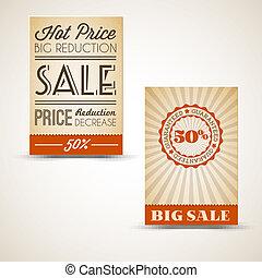 vecchio, vendemmia, vendita, retro, cartelle, grunge
