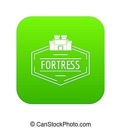 vecchio, verde, fortezza, icona
