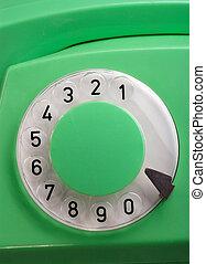 vecchio, verde, telefono rotante