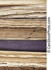 vecchio, verticale, libri, closeup, fondo, pila