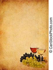 vecchio, vetro, carta, fondo, vino uva