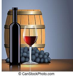 vecchio, vetro, vettore, vino, barile, bottiglia, rosso