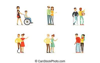 vecchio, vettore, porzione, persone, amici, loro, illustrazioni, invalido