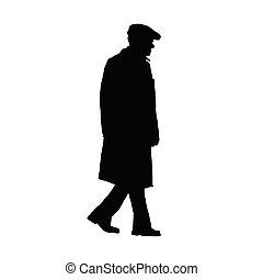 vecchio, vettore, silhouette, uomo