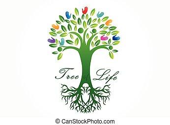 vecctor, イメージ, 木, ロゴ