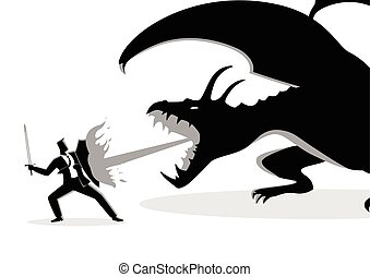 vecht, draak, zakenman
