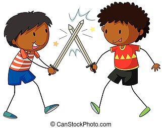 vecht, jongens, twee, zwaarden