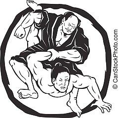 vecht, judo, samurai, tekening, jitsu, jiu