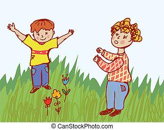 vecht, -, kinderen, illustratie, gedrag