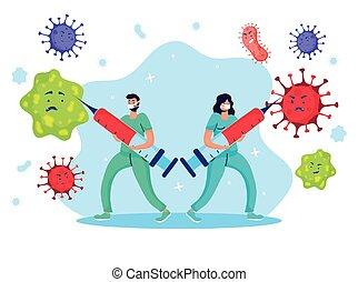 vecht, paar, artsen, injectie, komisch, virus, karakters