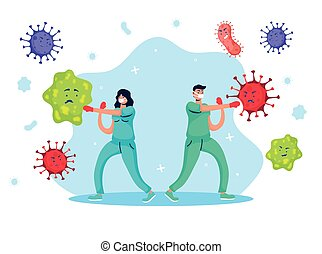 vecht, paar, artsen, komisch, virus, karakters