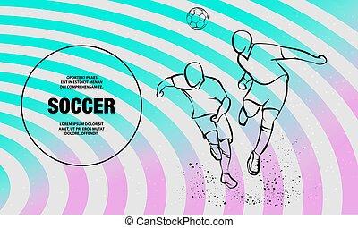 vecht, sportende, voetbal, illustration., schets, twee, vector, spelers, ball.