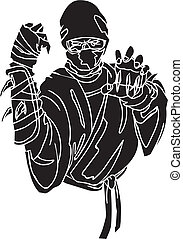 vechter, illustration., -, vector, vinyl-ready., ninja