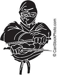 vechter, illustration., -, vector, vinyl-ready., ninja
