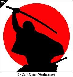 vechter, krijgshaftig, kendo, katana, scene., samurai, arts.