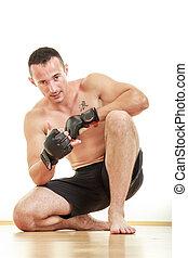 vechter, shirtless, jonge, handschoenen, man, sportende, mooi