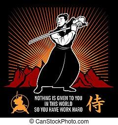vechter, sword., vector, katana, arts., illustration., ...