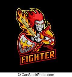 vechter, vuur, illustratie, vector, zwaard, mascotte