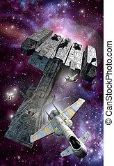 vechters, spaceship, escorte