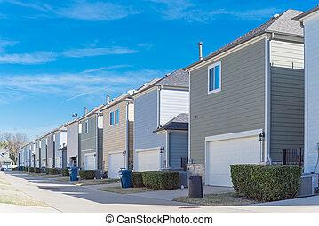 vecindad, callejón, garaje, espalda, línea, residencial, ...