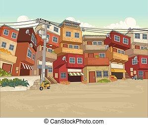 vecindad, city., pobre, calle