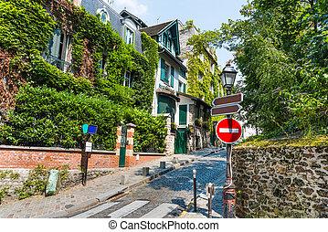 vecindad, montmartre, calle, pintoresco