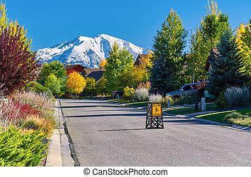 vecindario residencial, en, colorado, en, otoño