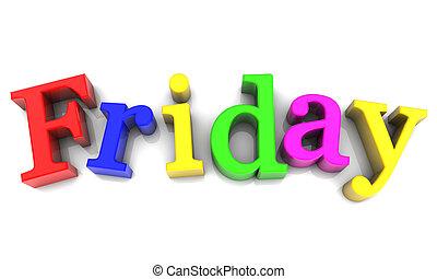 vecka, över, fredag, flerfärgad, bakgrund, vit, dag