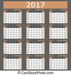 vecka, 2017, startar, tone), söndag, (brown, kalender