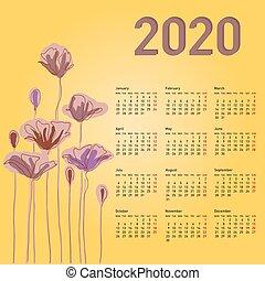 vecka, 2020, monday., kalender, blomningen, stilig, startar