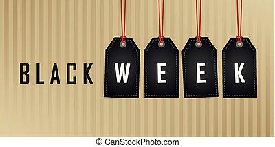 vecka, abstrakt, etikett, papper, svart fond, hängande, befordran